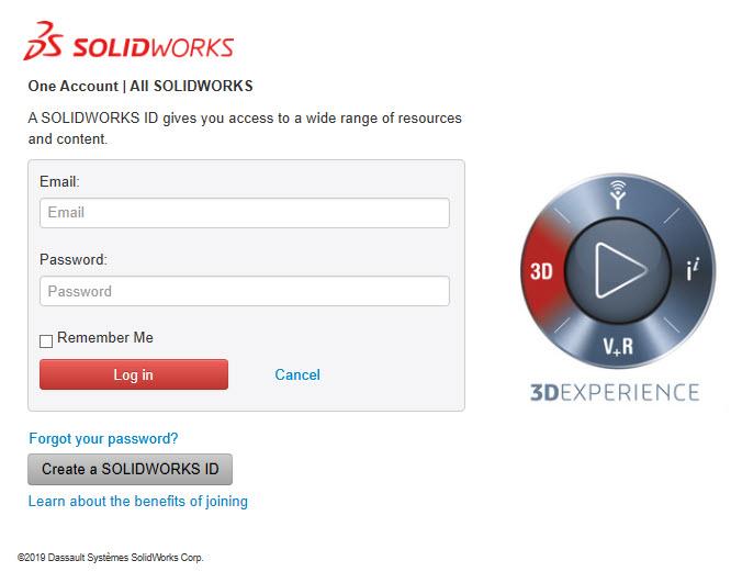 Admin Portal Login SOLIDWORKS ID