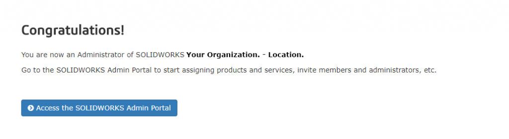 Admin Portal Bestätigungsseite