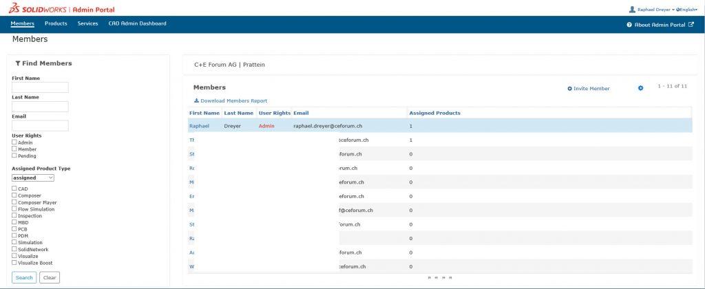 Admin Portal Hauptseite